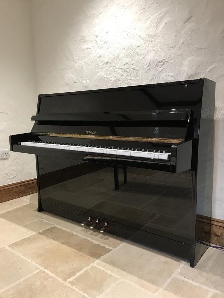 piano,gloss,high,black,upright,petrof,dorset,showroom