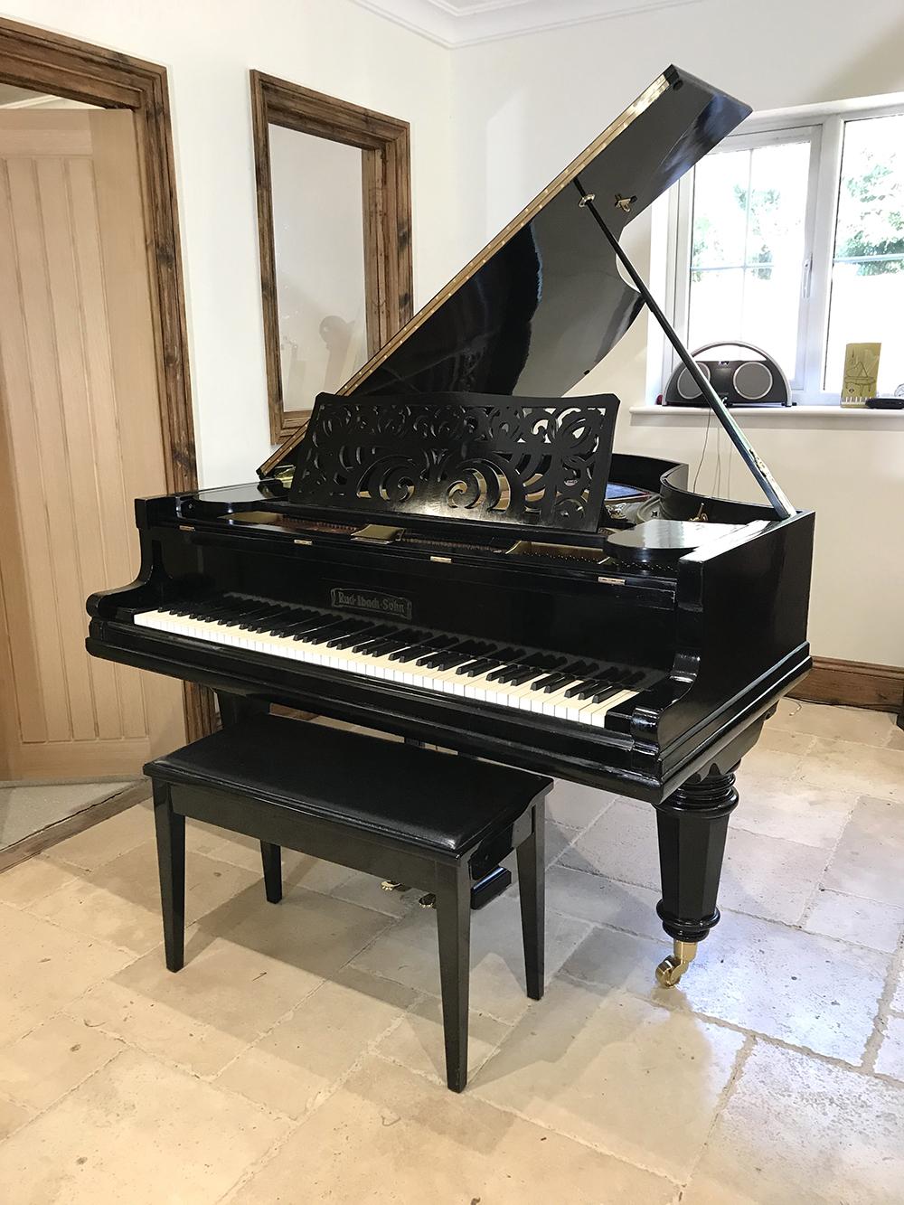 rud,ibach,sohn,boudoir,grand,piano,dorset,showroom,restoration,rebuild,restored,traditional,unique,german,prussion,black,