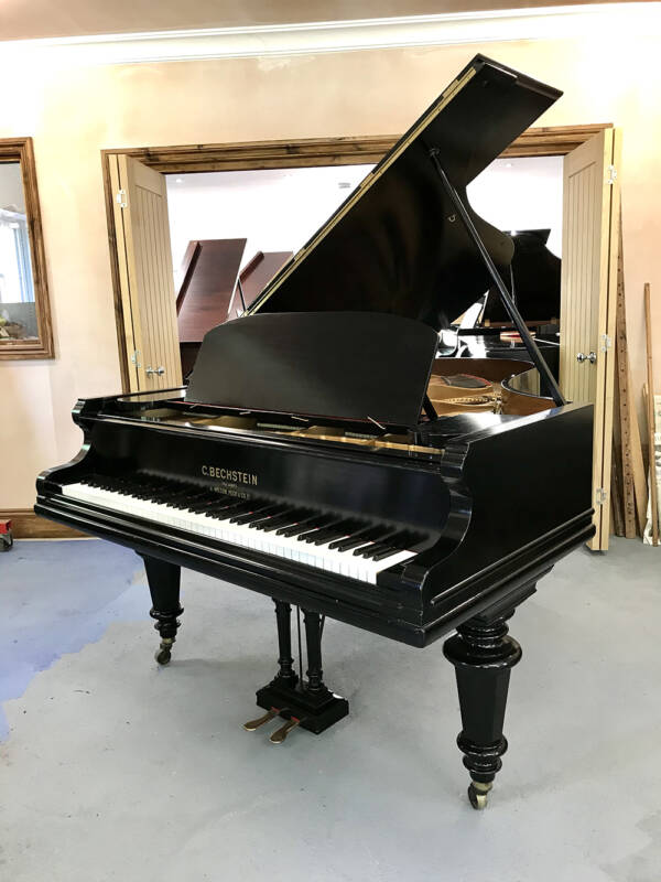 bechstein,model,v,grand,piano,black,6.7ft,reconditioned,used,sale,dorset,showroom